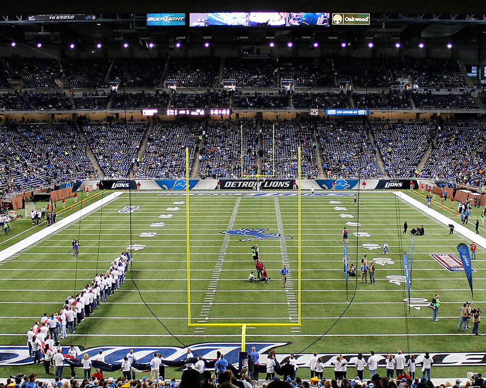 Where do the Detroit Lions play football?