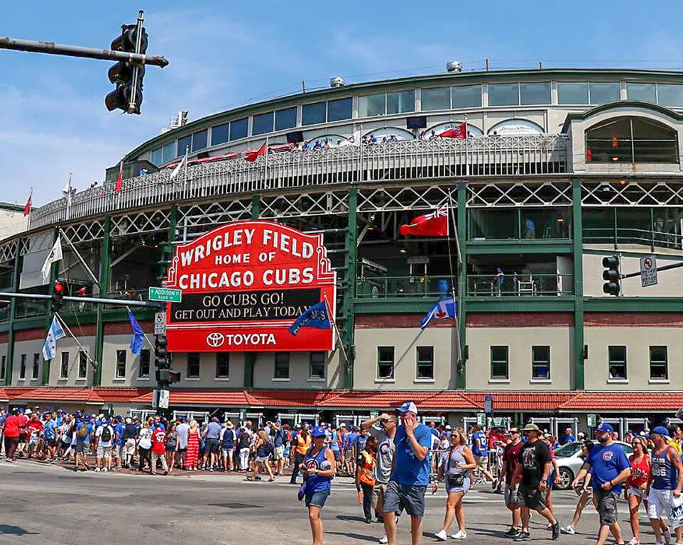 Where do the Chicago Cubs play baseball?