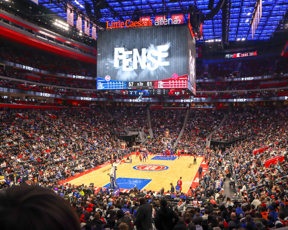 Where do the Detroit Pistons play basketball?