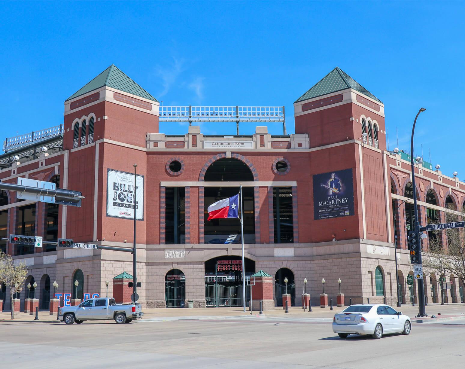 Where do the Texas Rangers play baseball?