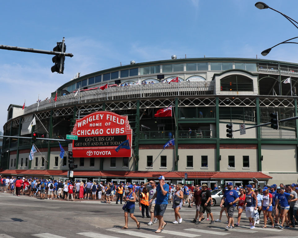 Where do the Chicago Cubs play baseball?