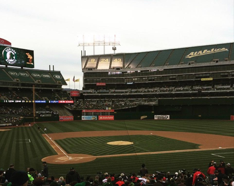 Where do the Oakland Athletics play baseball?